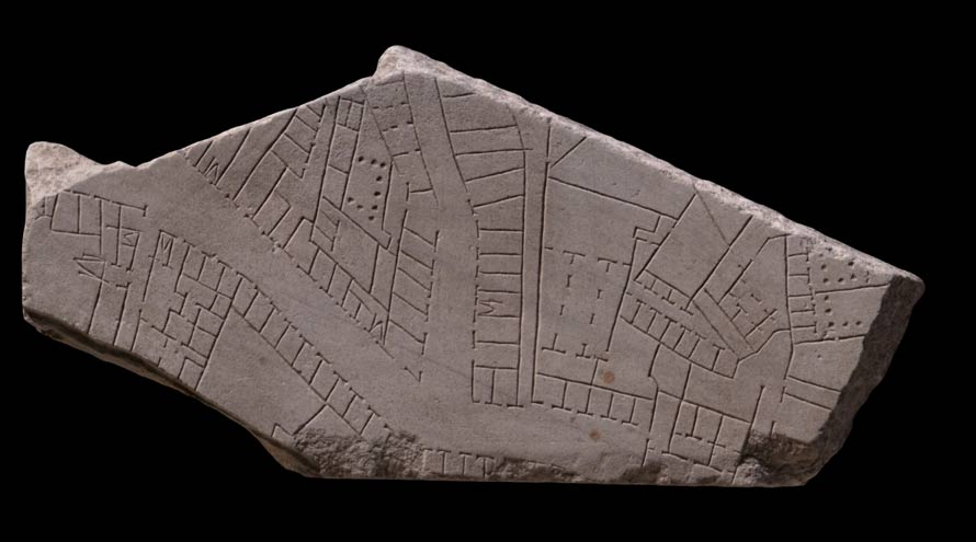 A fragment of the Forma Urbis Romae map