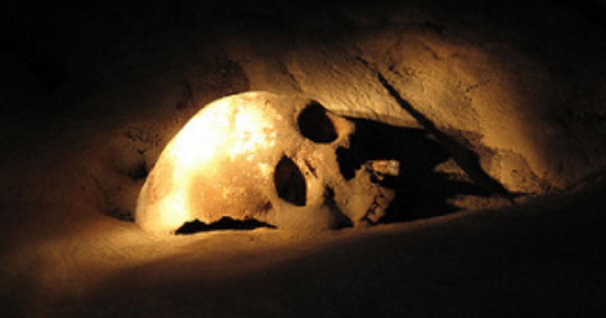 Skull in Actun Tunichil Muknal.