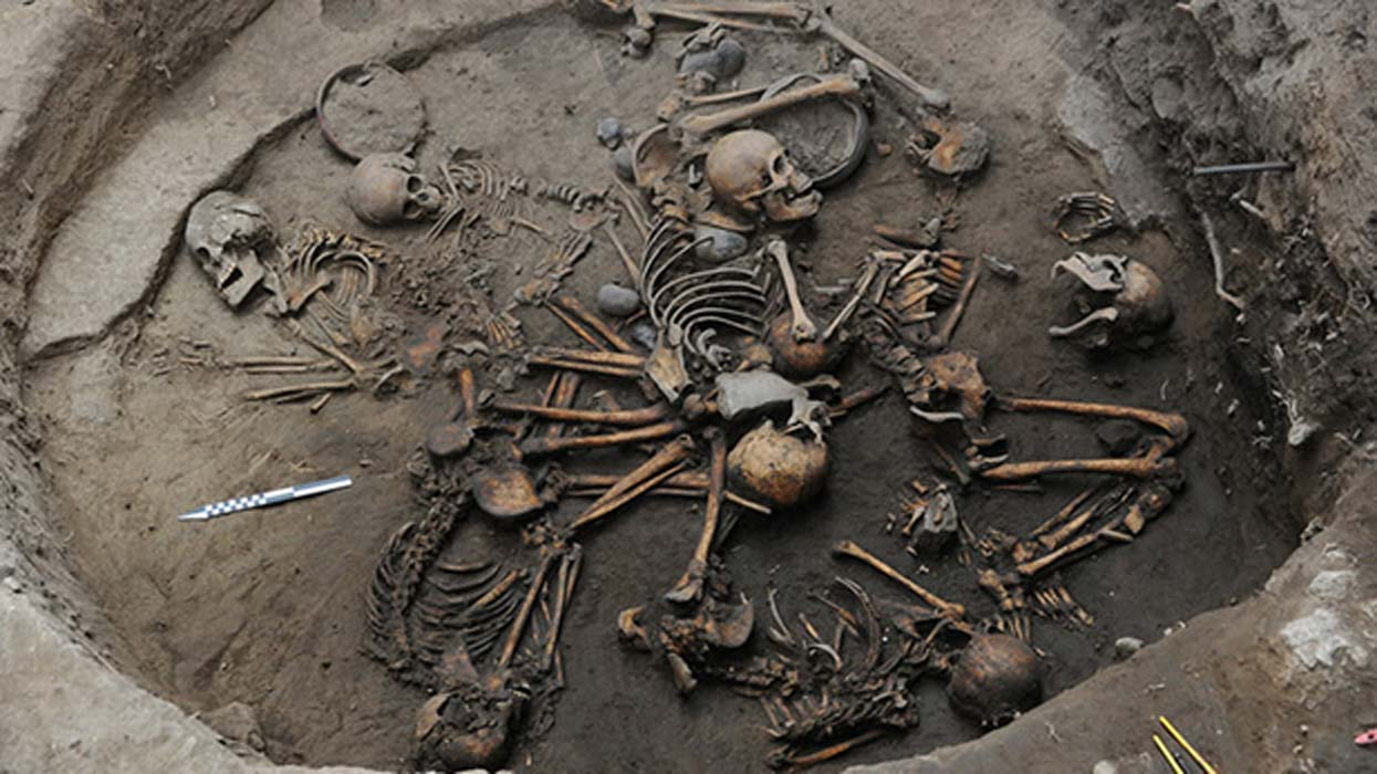 The 10 skeletons were arranged in a spiral pattern found at Tlalpan, Mexico City