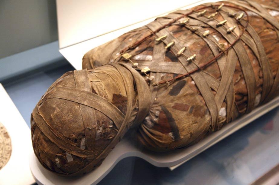 Egyptian mummy at the British Museum, London.