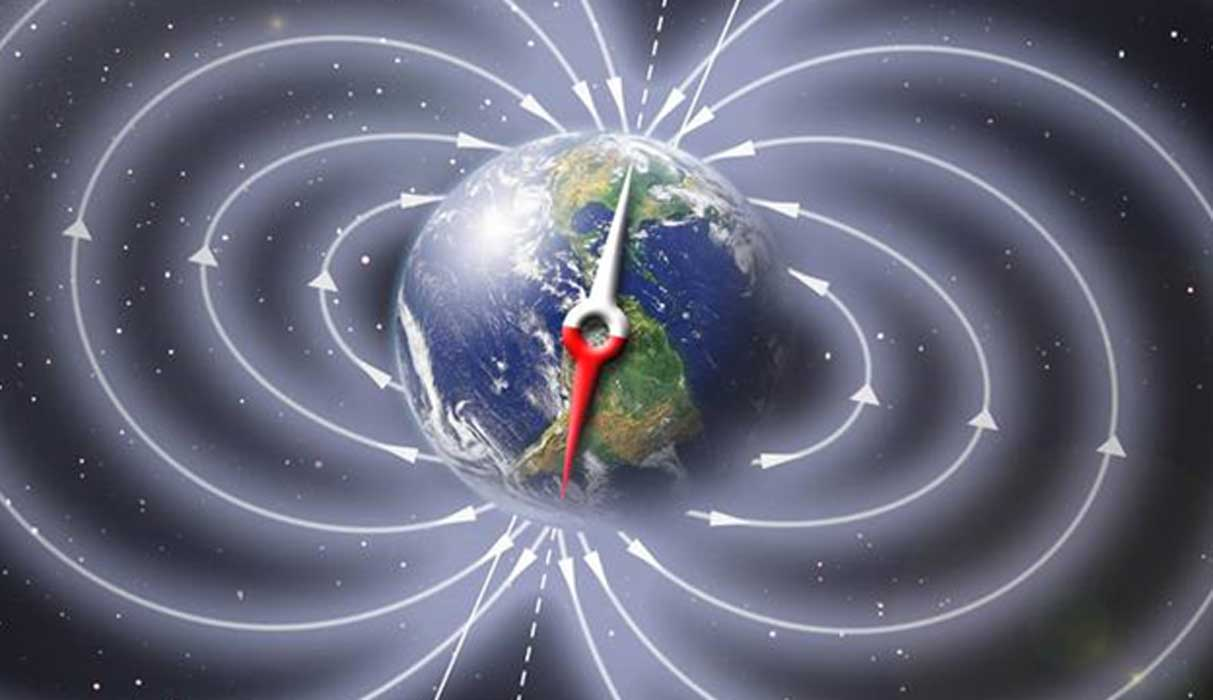 Detail of a representation of Earth's Invisible Magnetic Field.