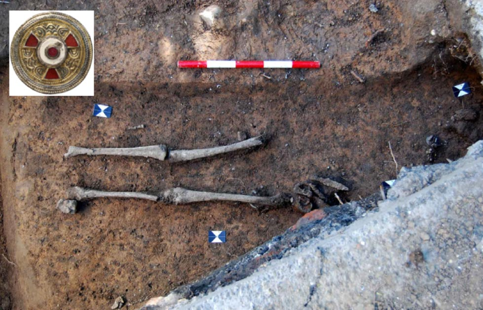 Anglo-Saxon Grave of high-status female found with grave goods.     Source: Canterbury Trust