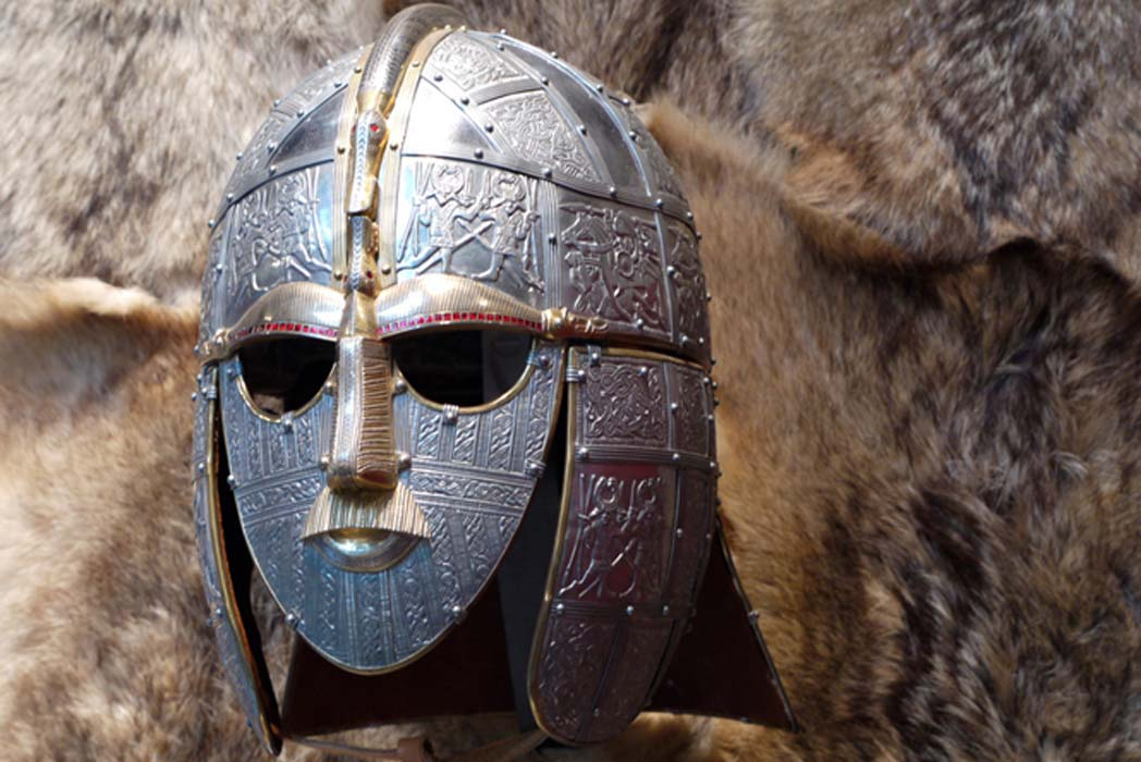 Anglo Saxon Helmet, Sutton Hoo, Suffolk. A reproduction of the helmet rebuilt from the fragments found in mound 1 in 1949.