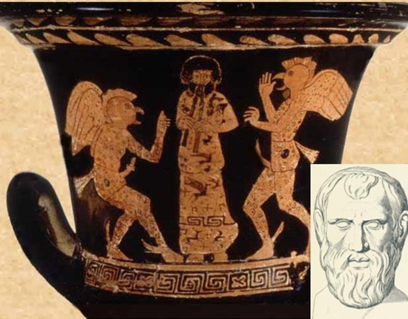 A vase depicting a scene from Aristophanes' play 'The Birds.