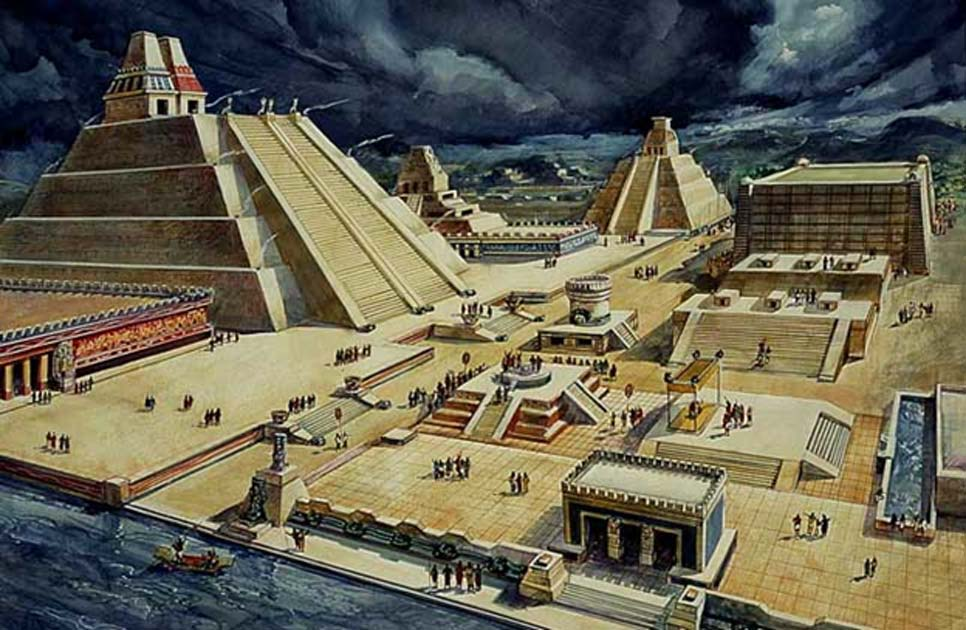 Drawing of what part of Tenochtitlan city (now Mexico City), location of the temple and ball court, may have looked like, based on the Spanish chronicles.