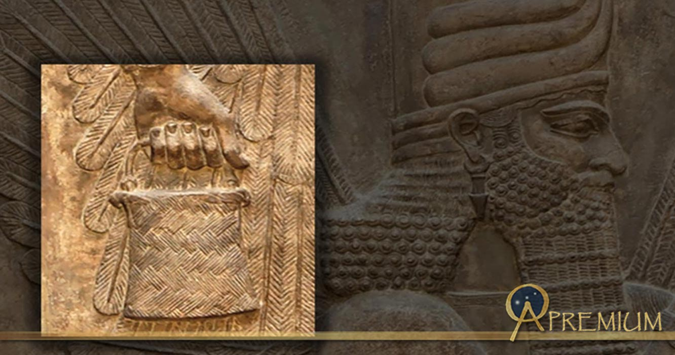 Inset; Bucket/ banduddû from the north wall of the Palace of king Sargon II, and a four-winged genie in the Bucket and cone motif.