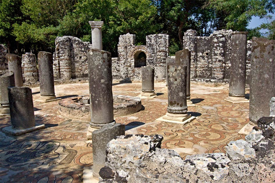 View of the baptistery in the ancient city of Butrint, Albania.