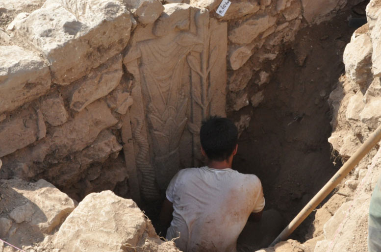 Basalt stele revealed during excavations in Southeast Turkey