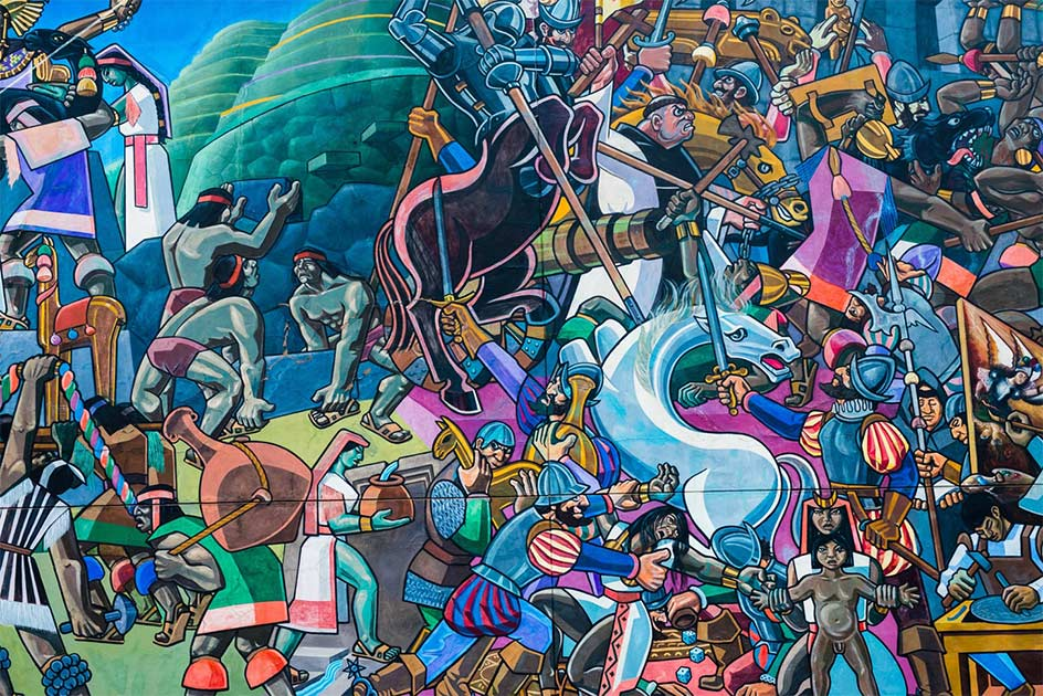 Street art illustrating what the Spanish conquistadores did to the Inca during their conquest and the Battle of Cajamarca. Source: shantihesse / Adobe Stock.