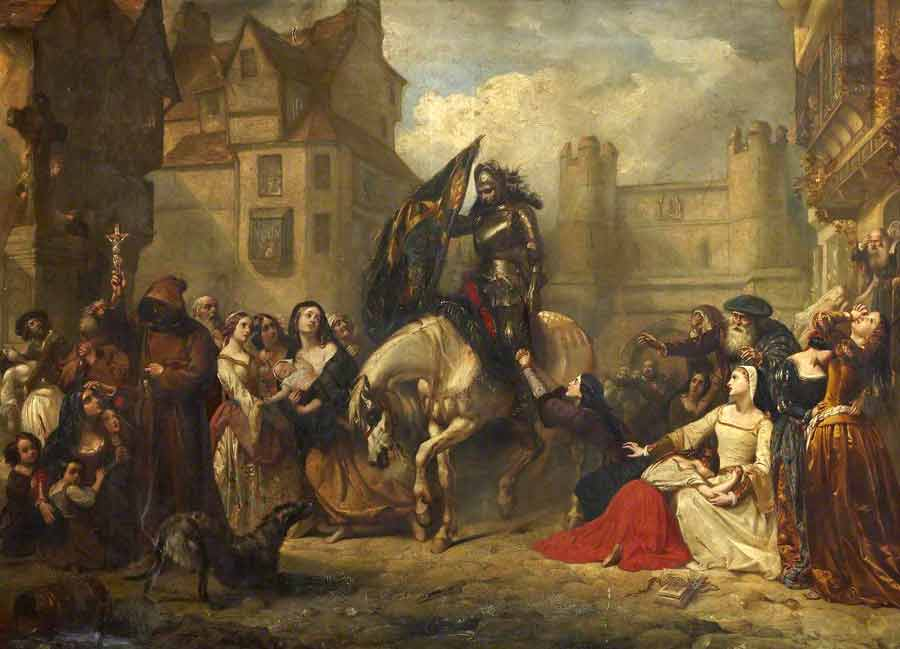 This painting depicts news of the Battle of Flodden when it reached Edinburgh.