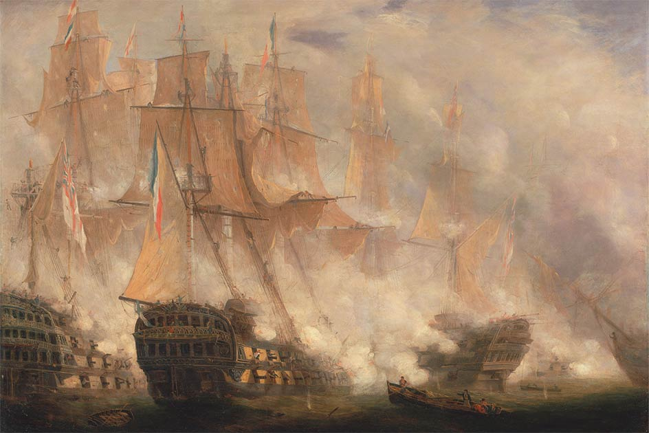 The Battle of Trafalgar, oil on canvas by John Christian Schetky, c. 1841.        Source: Yale Center for British Art / Public Domain