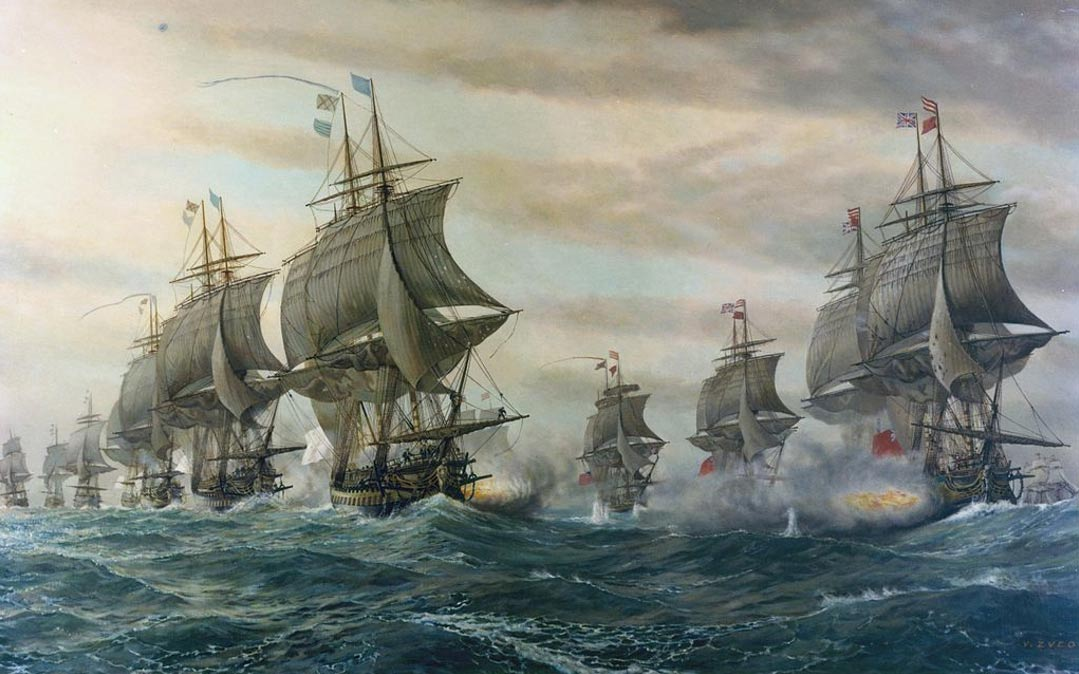 "A painting titled ""Battle of the Cheseapeake"" of the Revolutionary War, by V. Zveg; the Potomac River, where the ship was found, empties into the Chesapeake Bay."