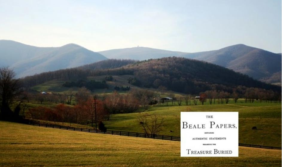 "A view of Bedford County, Va., where the supposed treasure of ""The Beale Papers"" is said to be buried."