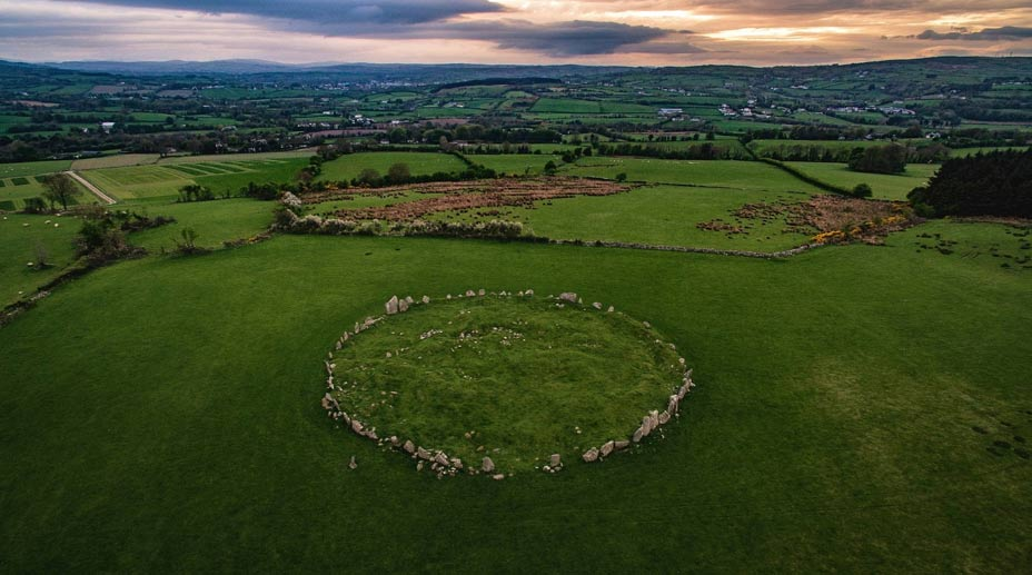Beltany stone circle at sunset