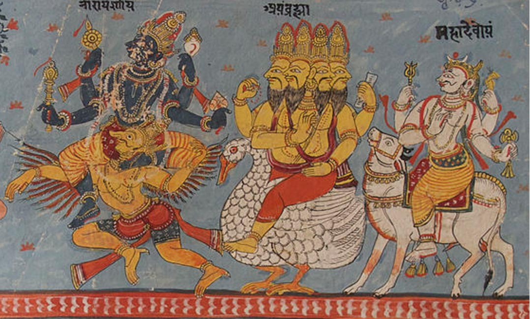 A page of a Bhagavata Purana illustrated manuscript in Devanagari. Illustration depicts Vishnu, Brahma and Shiva seated on their respective vahanas.