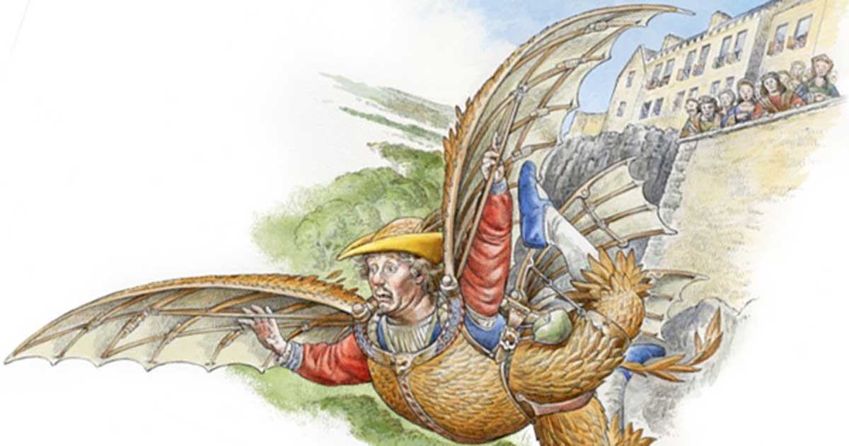 Drawing of the Medieval Birdman of Stirling Castle.
