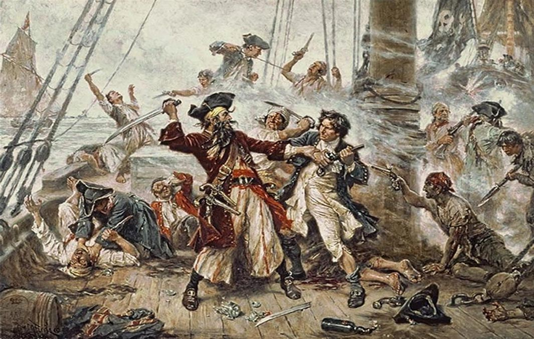 A painting entitled 'Capture of the Pirate, Blackbeard, 1718'.