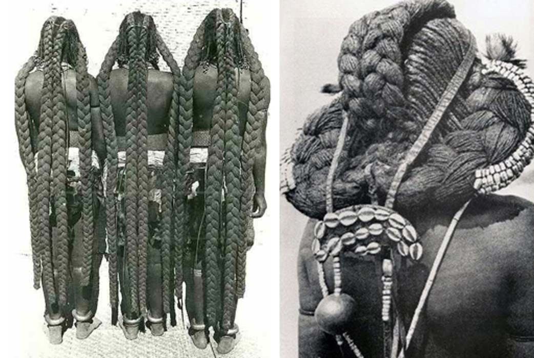 The eembuvi-plaits of Mbalantu women. Photo: CHL Hahn, Collection Antje Otto