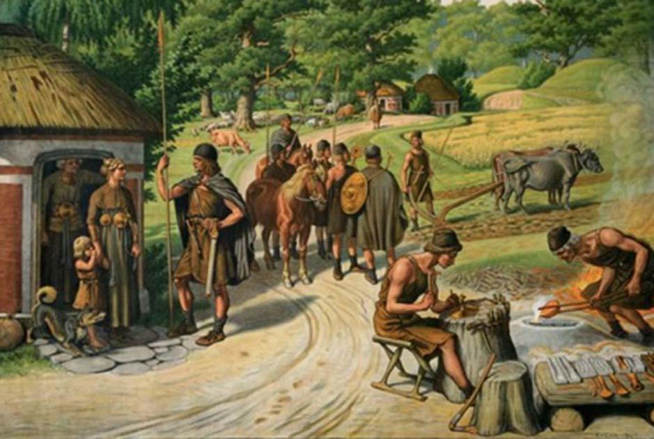Illustration of the later Bronze Age by Rasmus Christiansen.               Source: Dandebak
