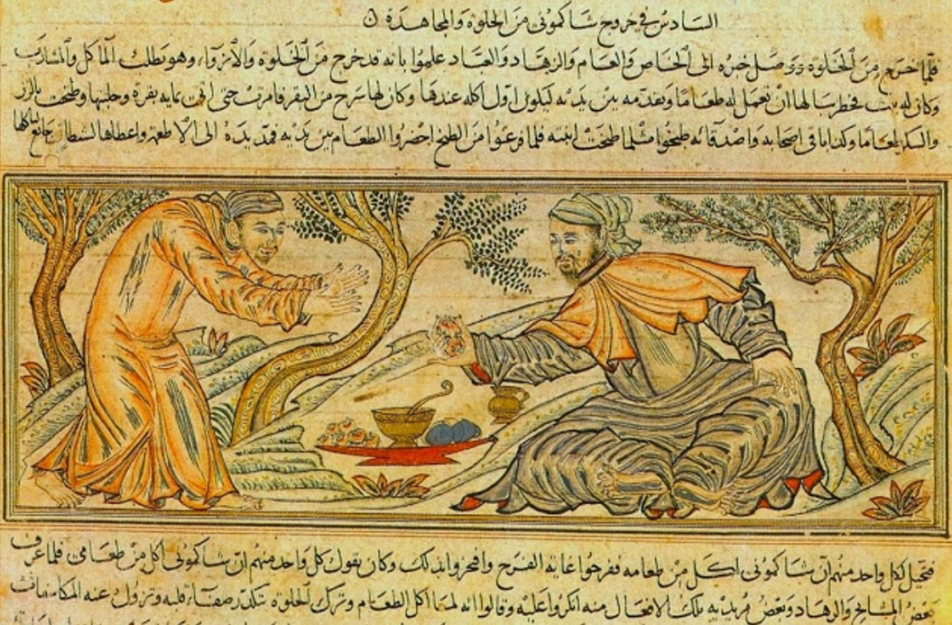 'Buddha offers fruit to the devil' from 14th century Persian manuscript 'The Jāmiʿ al-tawārīkh' (Compendium of Chronicles).