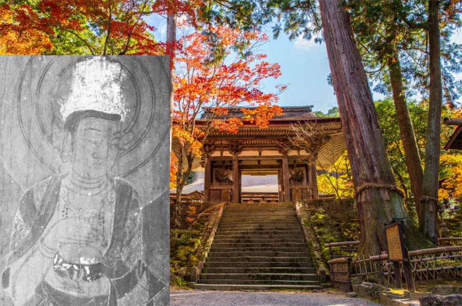 Saimyoji Temple contains remarkable Buddhist art. (Yuta1127 /Adobe Stock) Insert: One of the paintings revealed with infrared imagery. (Noriaki Ajima)