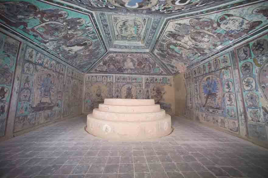 """The ancient wall paintings inside Buddhist cave temple """"Cave 465,"""" located near Dunhuang about 932 miles (1500 km) west of present-day Beijing."""