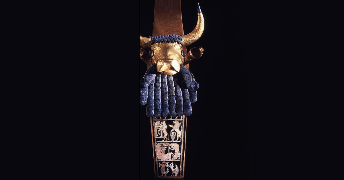 Left: Front angle of the reconstructed Bull Headed Lyre found in the Sumerian Royal Tombs of Ur in Mesopotamia, c. 2500 BC. Source: Penn Museum