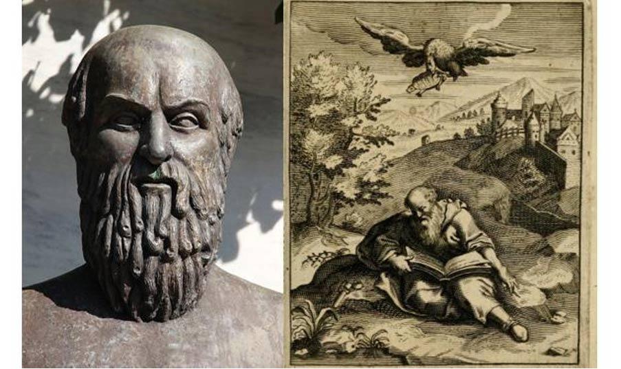 Bust of Aeschylus, Zappeion, Athens. (Tilemachos Efthimiadis/CC BY SA 2.0) Illustration of the death of Aeschylus.
