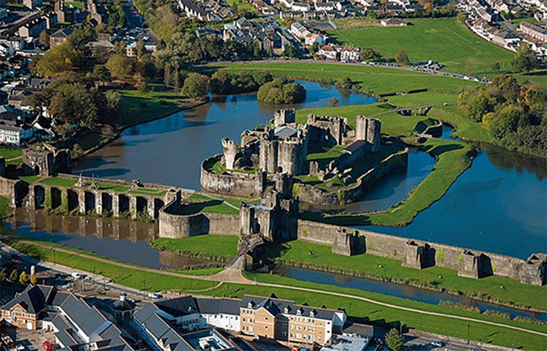 Aerial view of Caerphilly Castle
