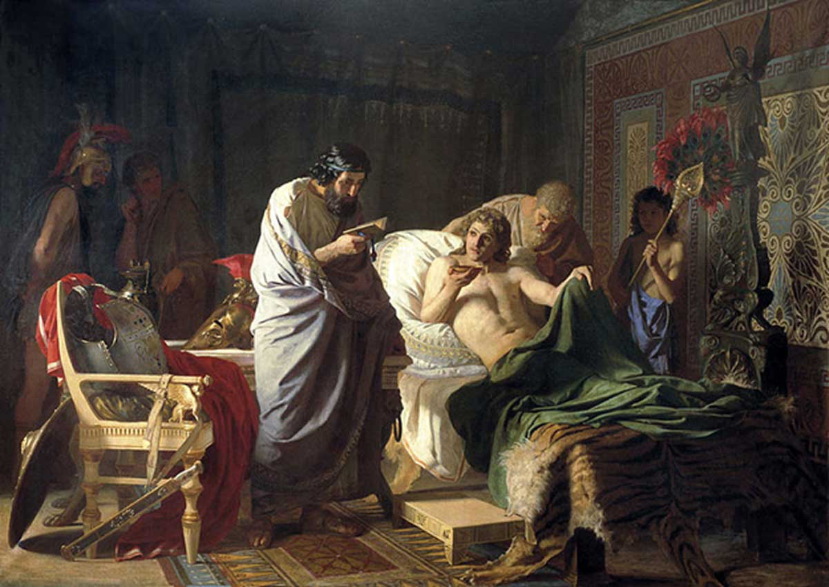 'Alexander of Macedon trusts the doctor Philip' (1870s) by Henryk Siemiradzki. Alexander is drinking a draught prepared by his trusted physician Philip after suffering from a severe fever. Humoral theory was used to cure illnesses, from fever to cancer, in ancient Greece.
