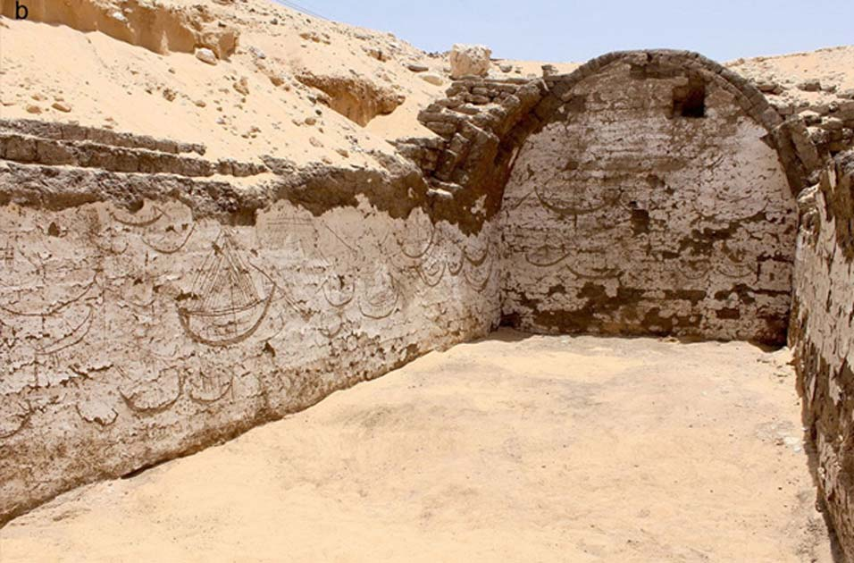 Over carvings of egyptian boats dating back