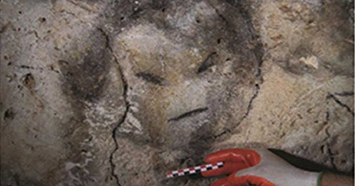 Charcoal drawn face from a cave in Mona, Puerto Rico