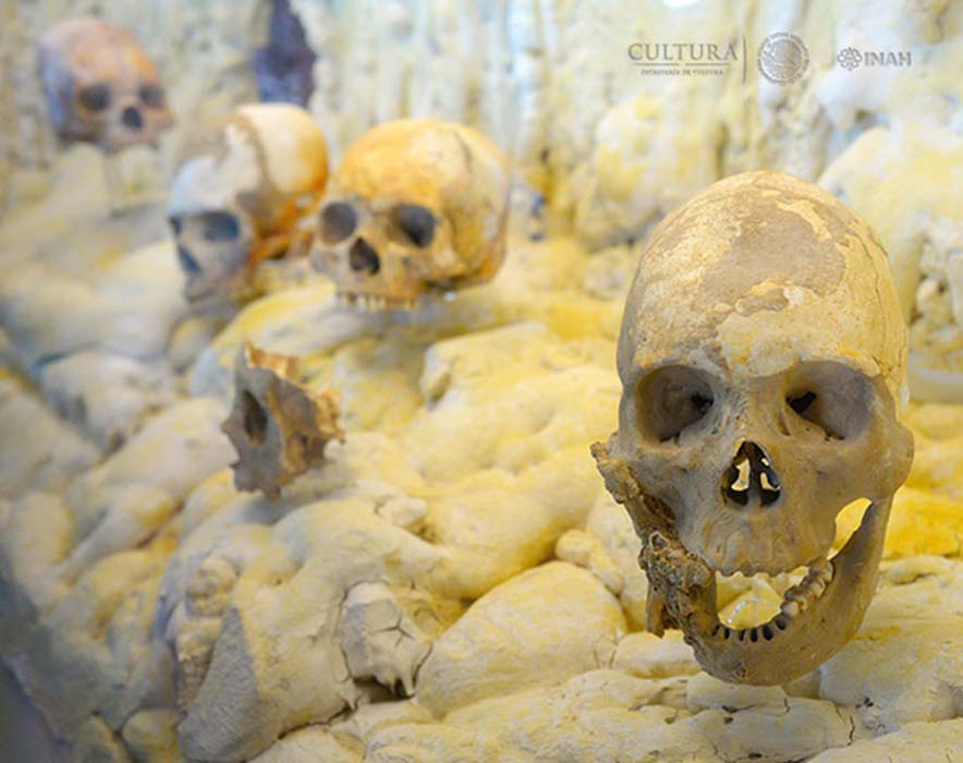 Some of the skulls found in the Cave of Ancestors in Puyil, Tacotalpa, Tabasco, Mexico.
