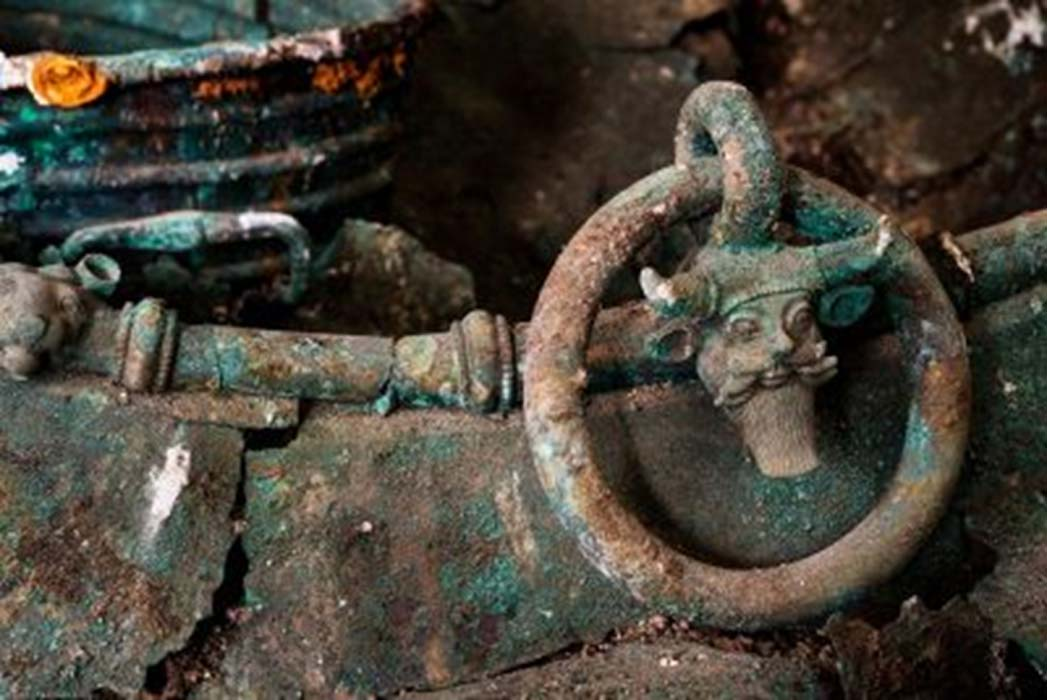 This bronze cauldron is one of the stunning artifacts which have been analyzed from the tomb of a Celtic elite found in Lavau, France.