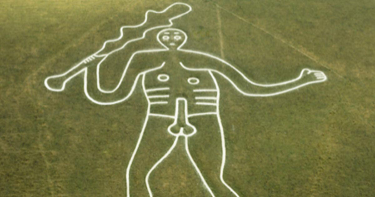 Aerial shot of the Cerne Abbas Giant.            Source: Dorset Council / CC BY-NC-SA 2.0
