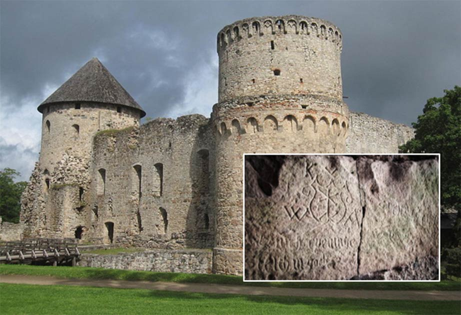 Main: Cēsis Castle in Latvia (CC by SA 3.0). Inset: Inscription found at Cēsis Castle. Inset: Alens Opolskis