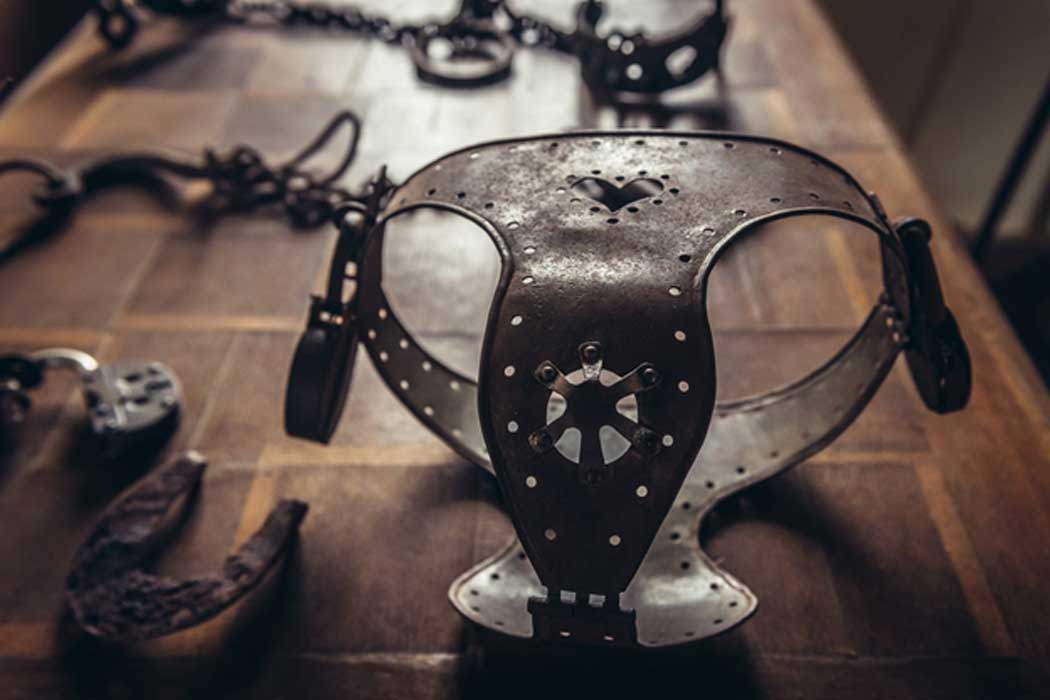 Old iron chastity belt from Middle Ages.