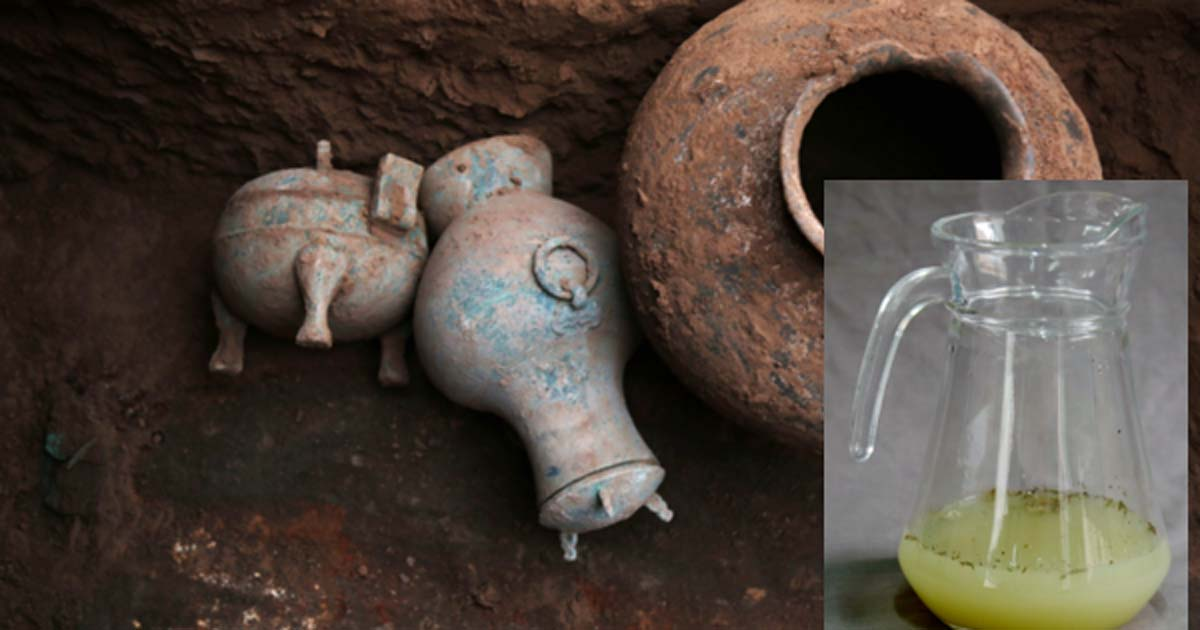 The ancient vessel (center) that was found to contain 2,000-year-old alcohol.