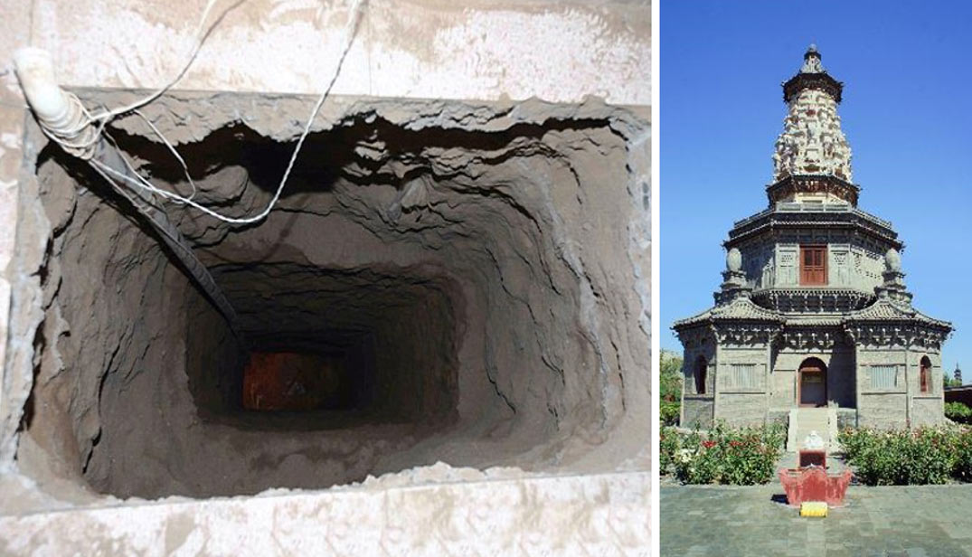 Left: Tunnel dug by thieves. Right: Hua Pagoda