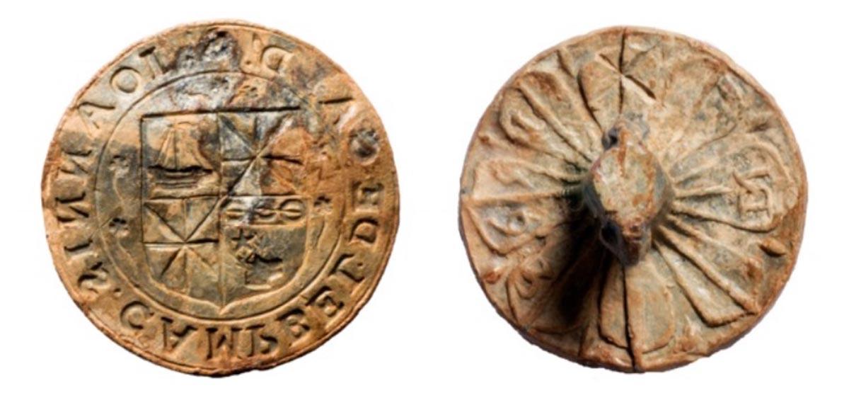 Clan Campbell seal matrix of Sir John Campbell of Cawdor.    Source: Sarah Lambert-Gates & Darko Maricevic ̌ / Antiquity Publications Ltd
