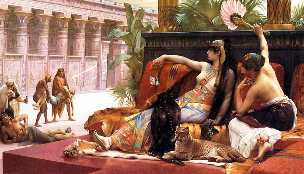 Cleopatra testing poisons on condemned prisoners.
