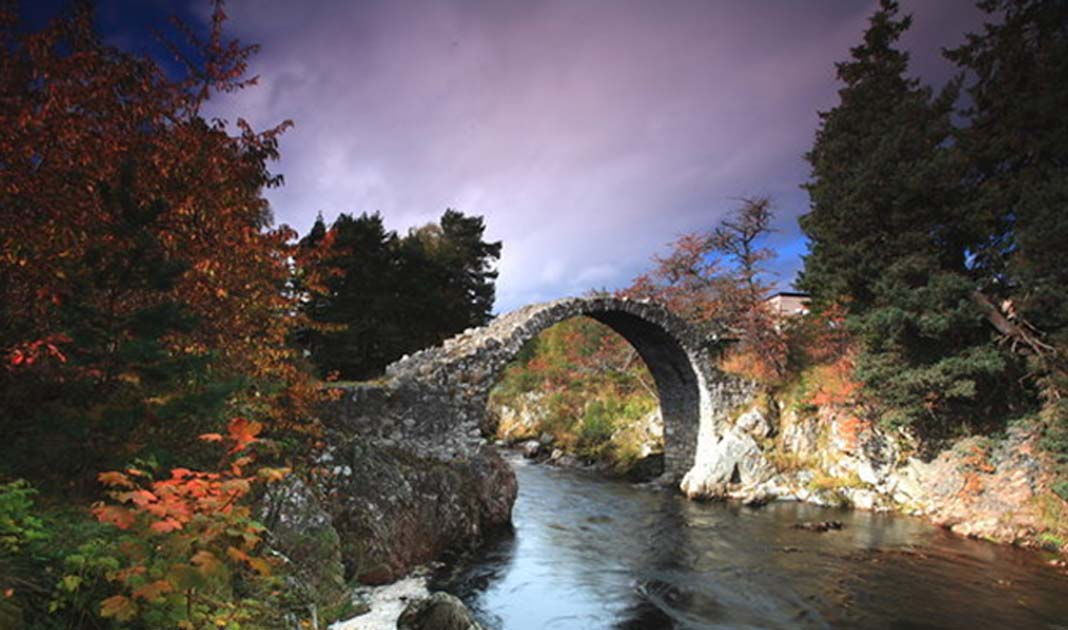 The old packhorse bridge in Carrbridge, Scotland