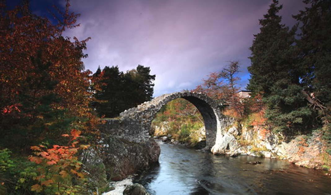 The old packhorse bridge in Carrbridge, Scotland