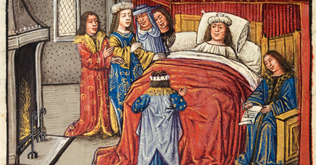 Alexander on his deathbed, surrounded by mourners, and dictating his will to his notary, Unknown Flemish artist