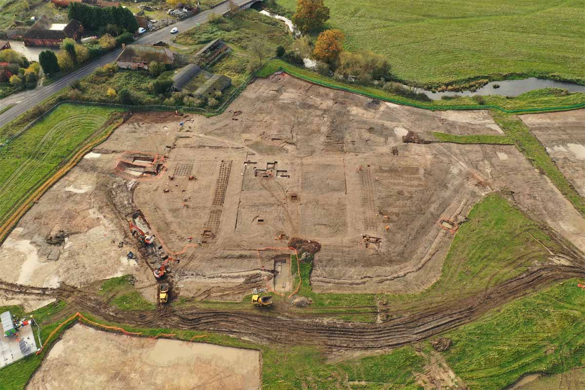 Aerial drone photo of the Coleshill Manor site, which certainly shows the size of the old property but leaves the visualization of the long-lost garden to our imagination, for now.