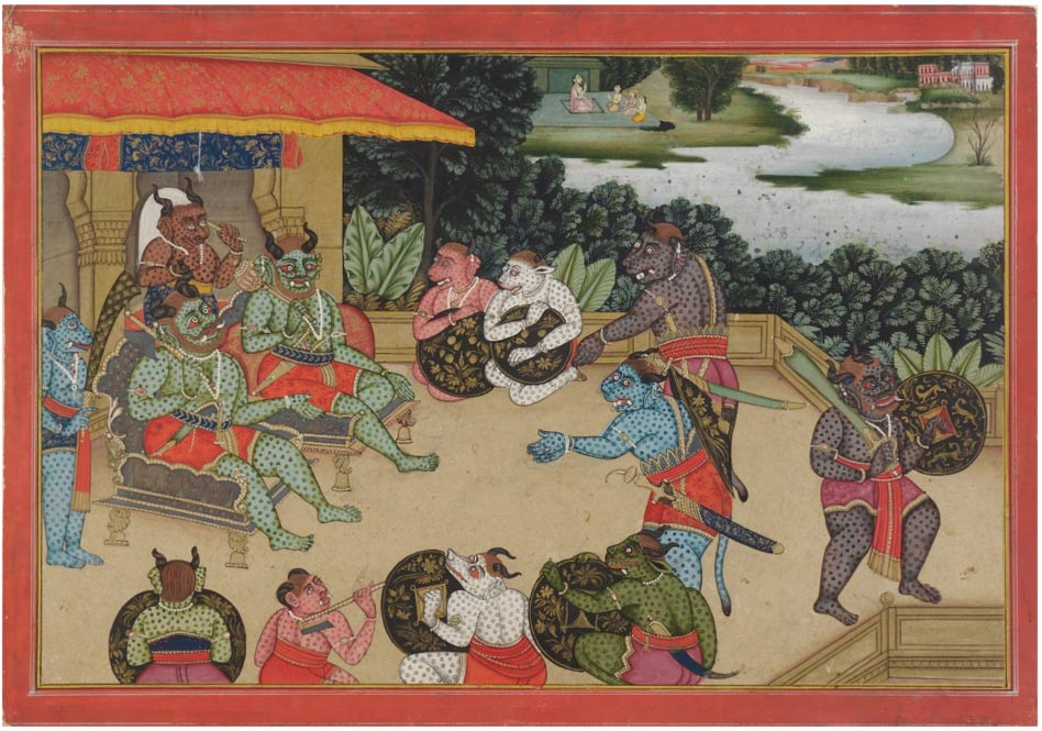 A Council at Lanka, an episode from the Ramayana. Color and gold on paper.