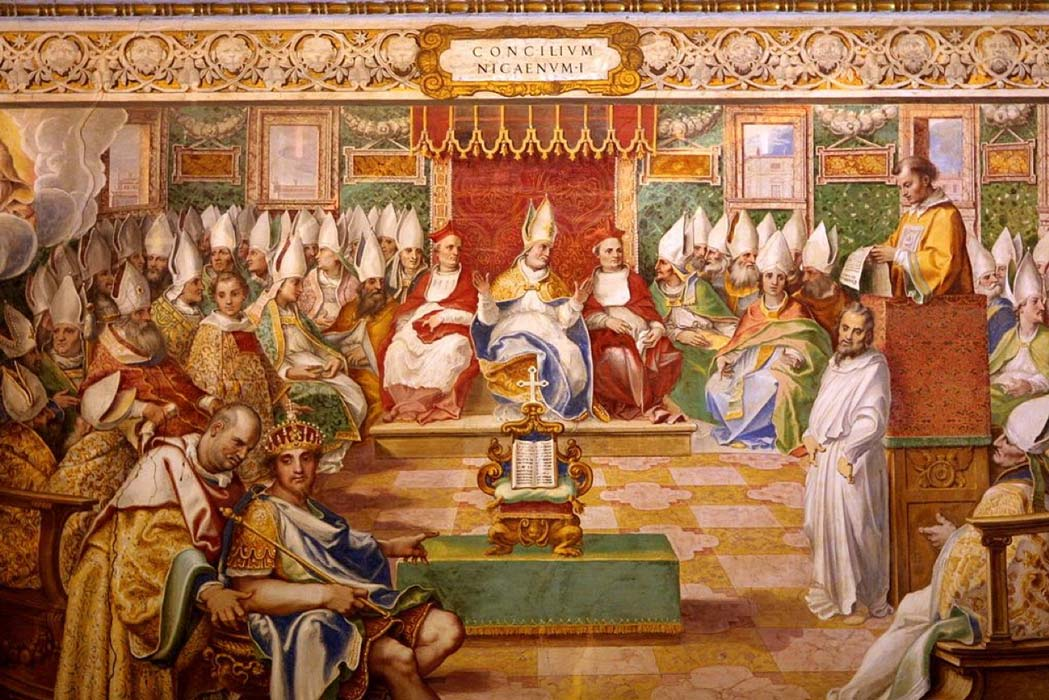 A 16th century fresco depicting the Council of Nicaea.