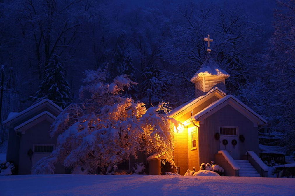 Country Church On Christmas Day
