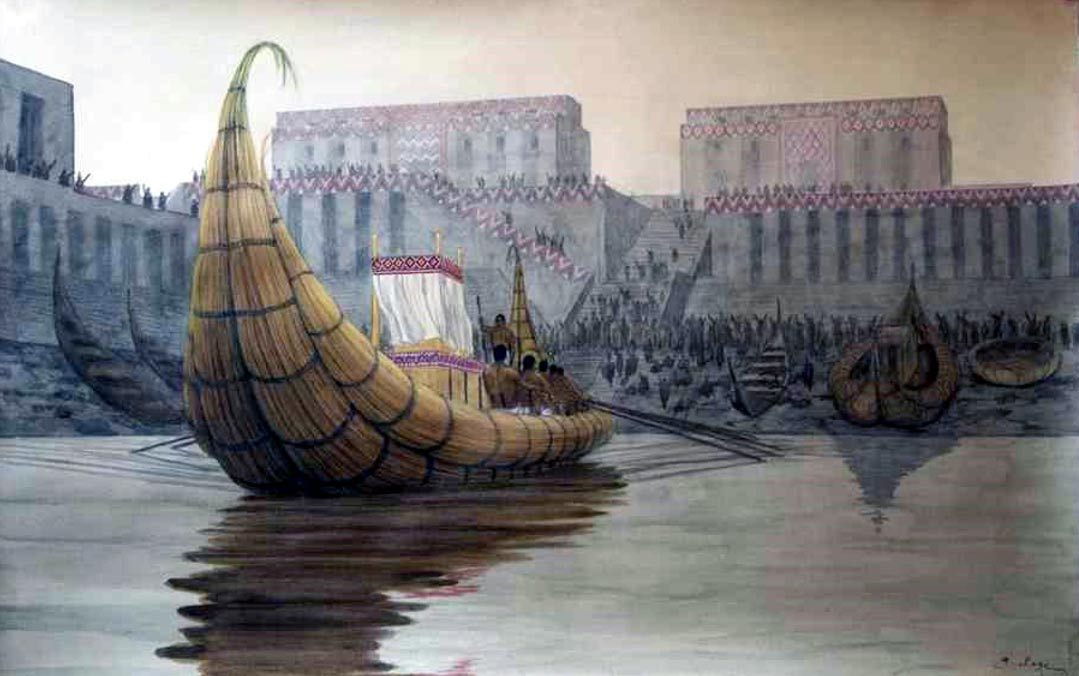 """Re-creation of the port at Eridu, an ancient """"Court of the King of the World""""."""