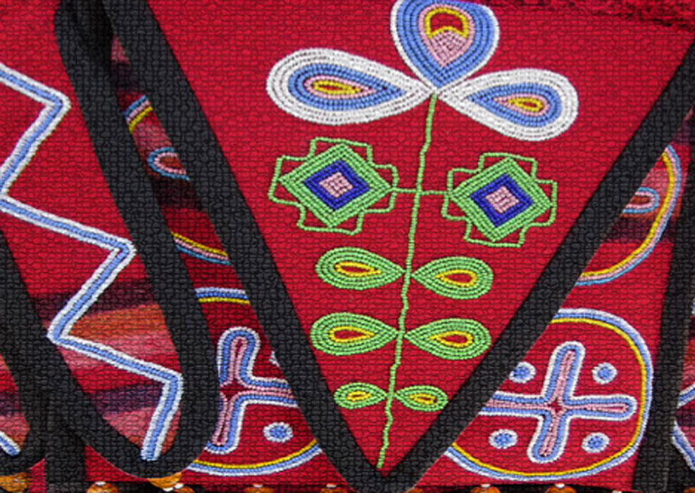 Creek beadwork. Beads and wampum were important in ritual and as currency among Native American groups. Wampum is made of sea shells.